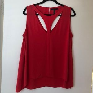 BCBG Red Blouse with Cutouts